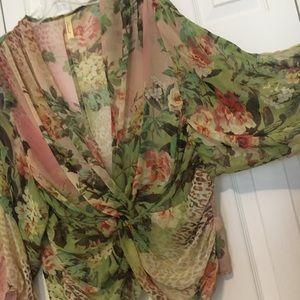 Romantic Chenault Sheer Vintage Rose Floral Top L